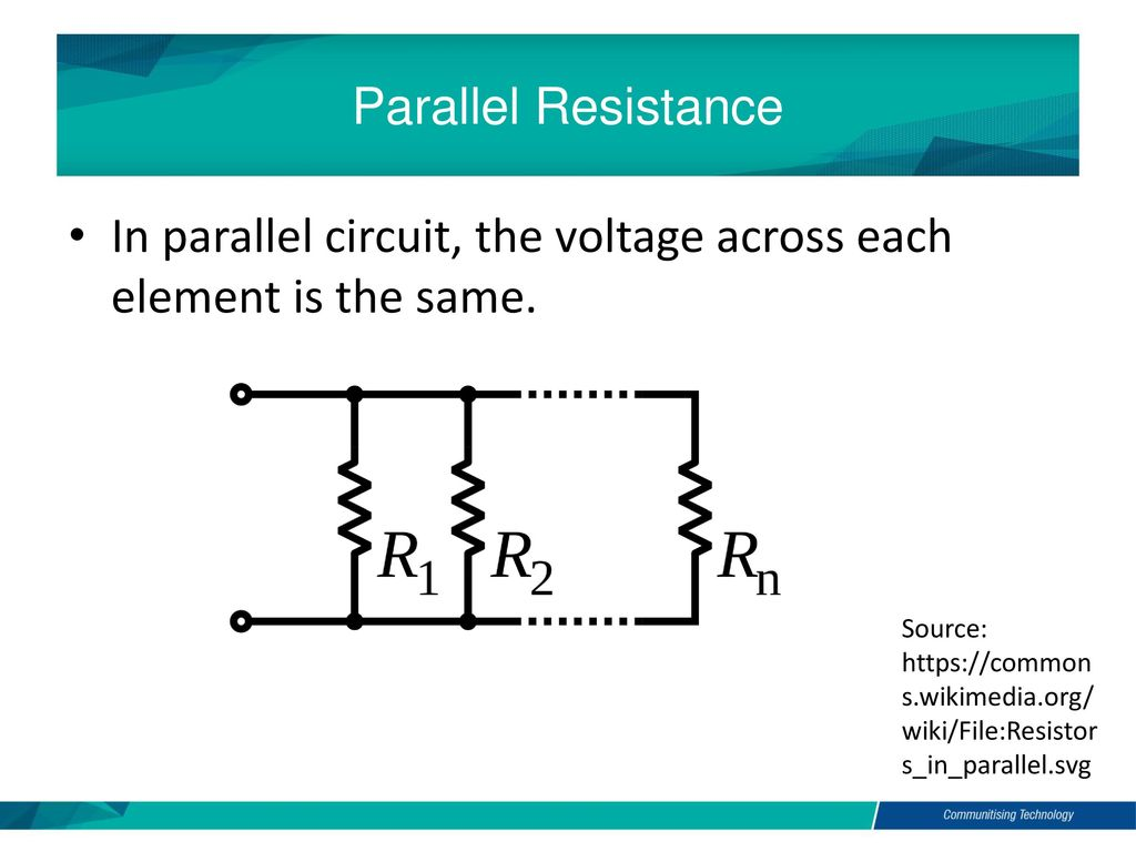 By Akhtar Razali Fkm Electric And Electronic Technology Chapter 2c Parallel Resistance Circuit In The Voltage Across Each Element Is Same