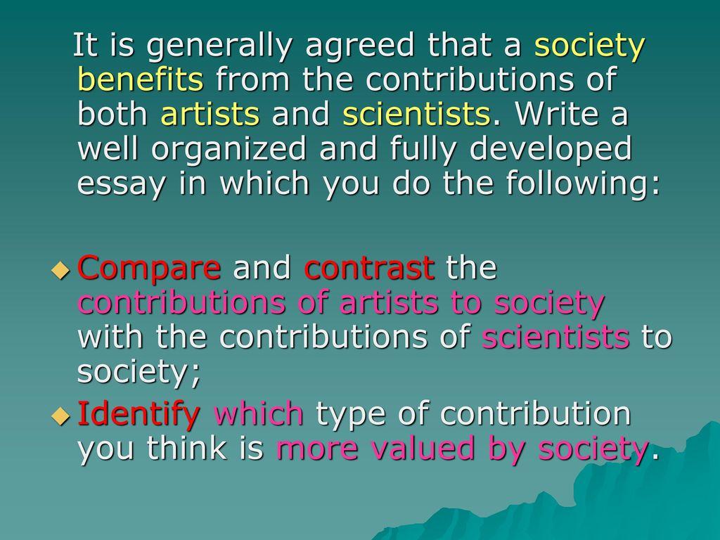 contribution to society essay