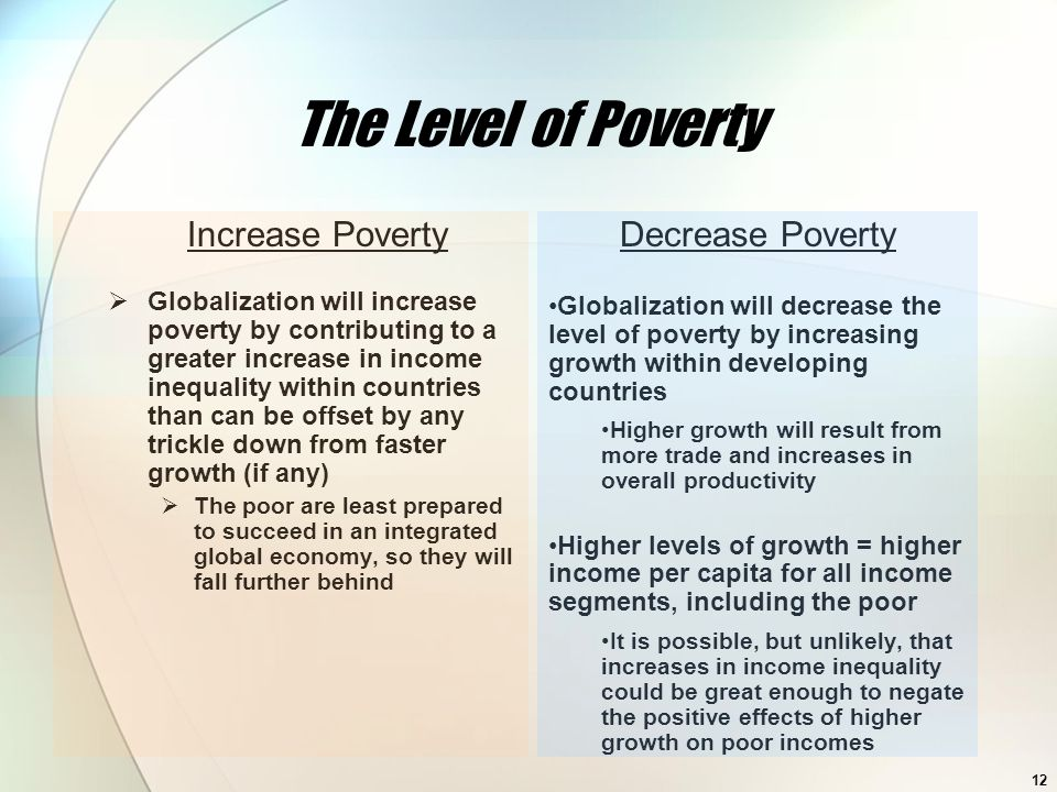 The Level of Poverty Increase Poverty Decrease Poverty