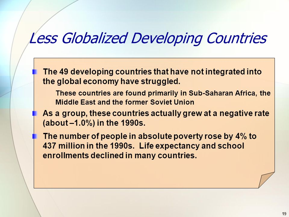 Less Globalized Developing Countries