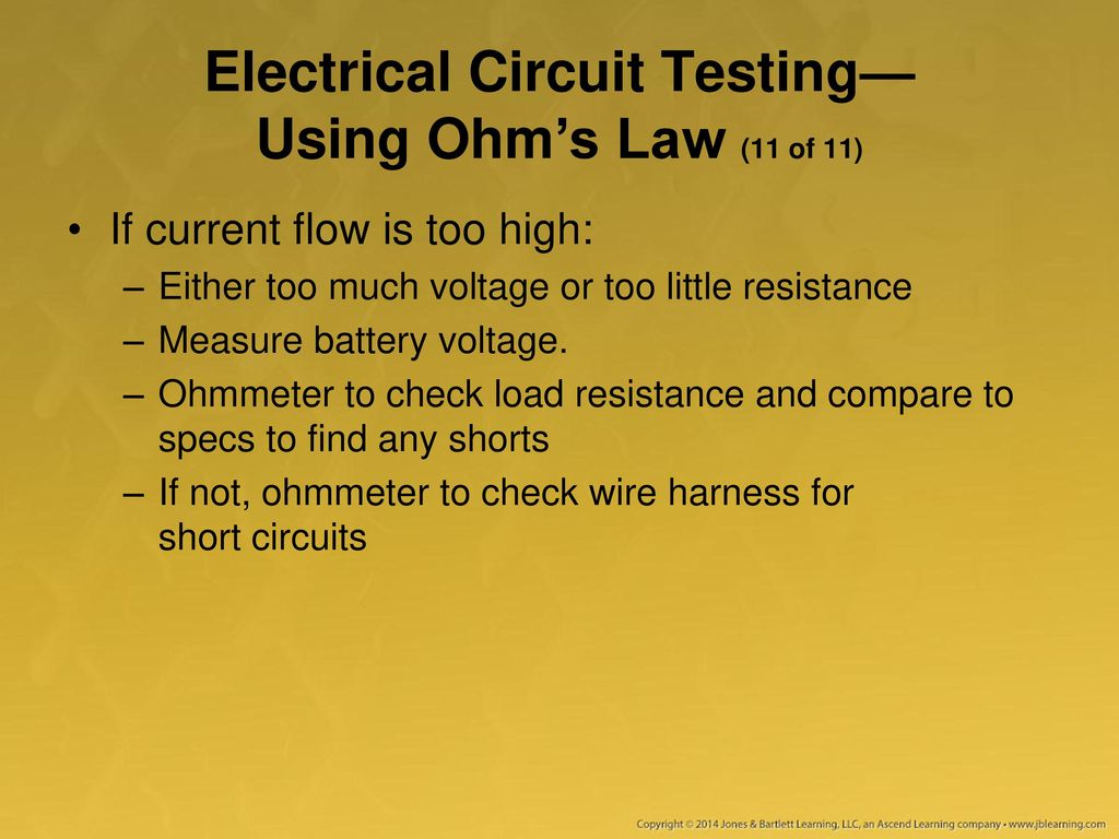 Using A Multimeter Test Light And Other Equipment Ppt Download Image Comparator Circuit If No Current Flows From To Electrical Testing Ohms Law 11 Of