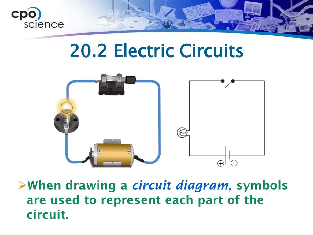 Chapter Twenty Electric Circuits Ppt Download Circuit Drawing 14 202 When A Diagram Symbols Are Used To Represent Each Part Of The