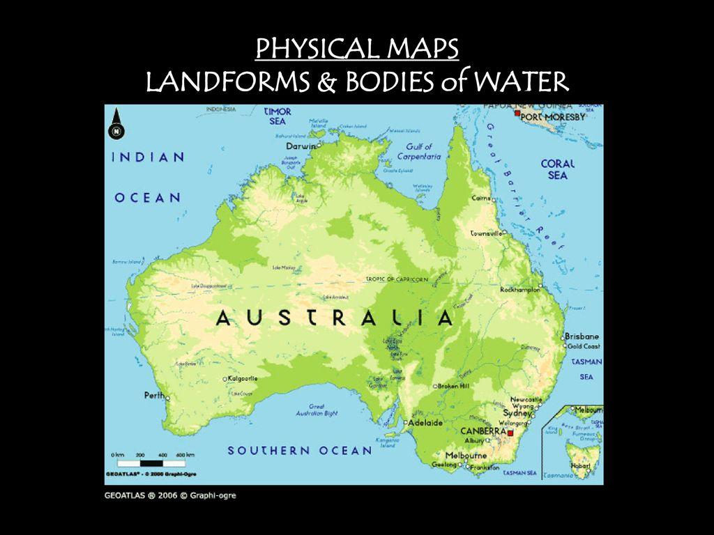 Australia Map Landforms.8 Maps Projections Types Application Ppt Download