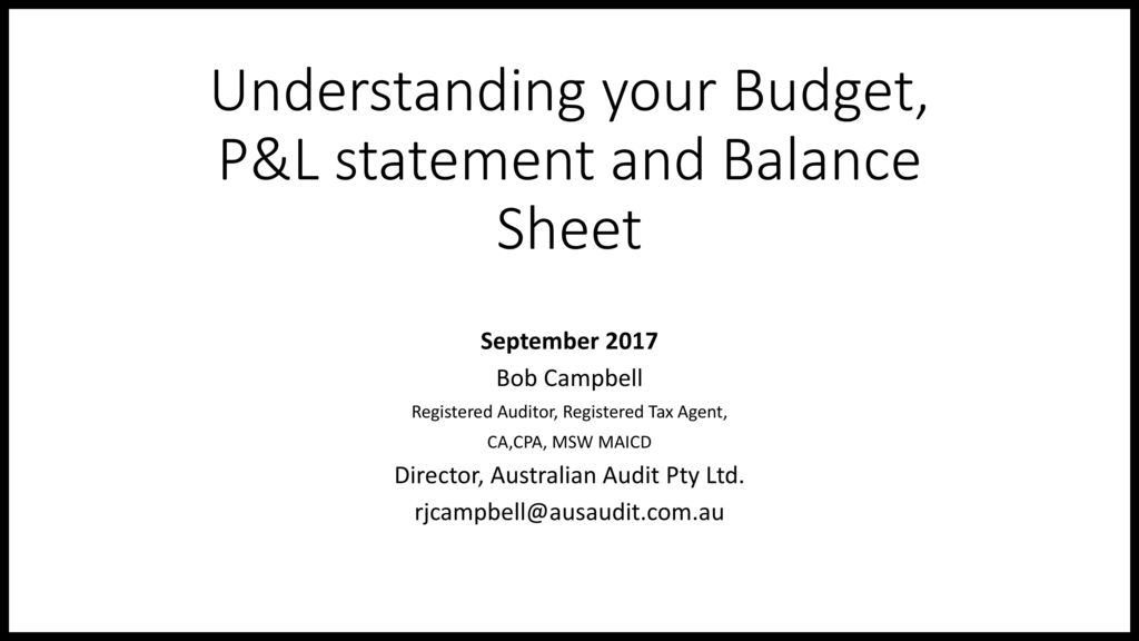 Understanding your Budget, P&L statement and Balance Sheet - ppt ...