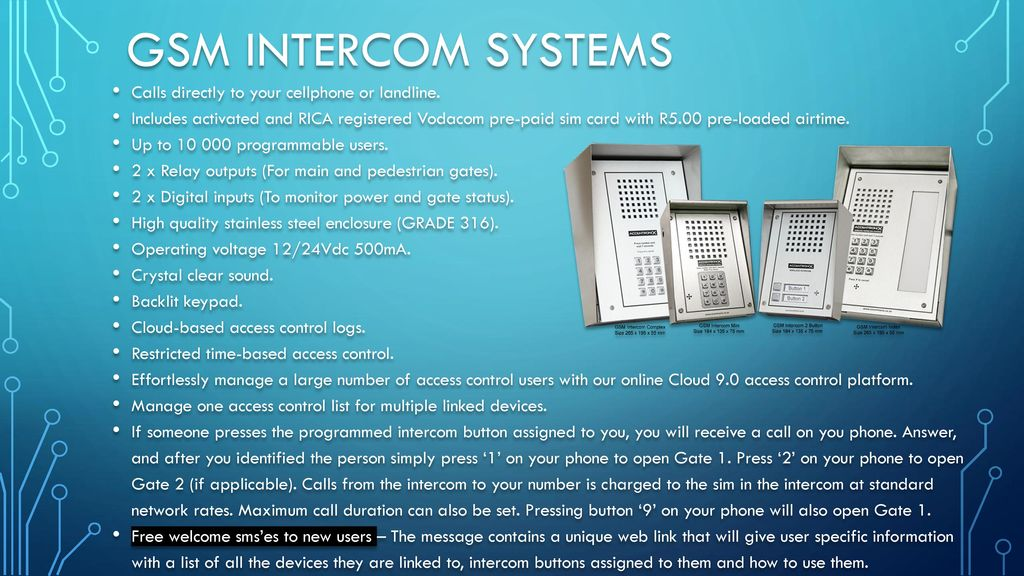 product range Cellswitch Infinity GSM Intercom Complex GSM Intercom