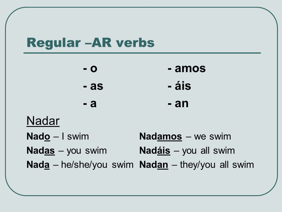 Regular –AR verbs - o - amos - as - áis - a - an Nadar