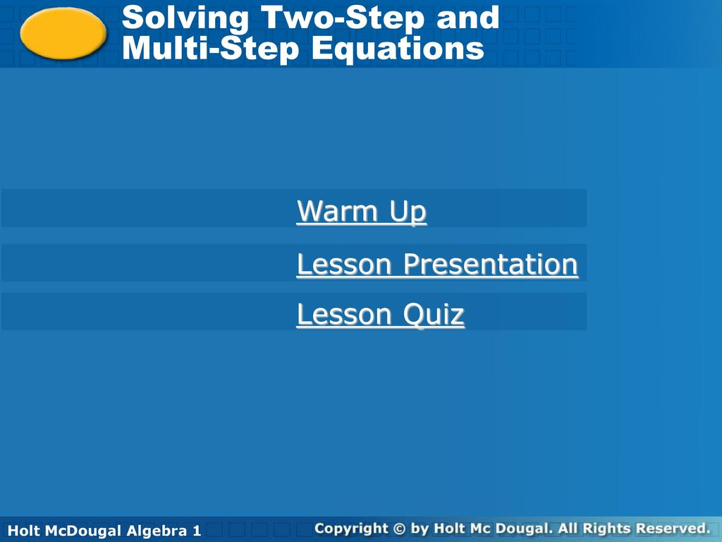 Solving Two-Step and Multi-Step Equations Warm Up Lesson ...