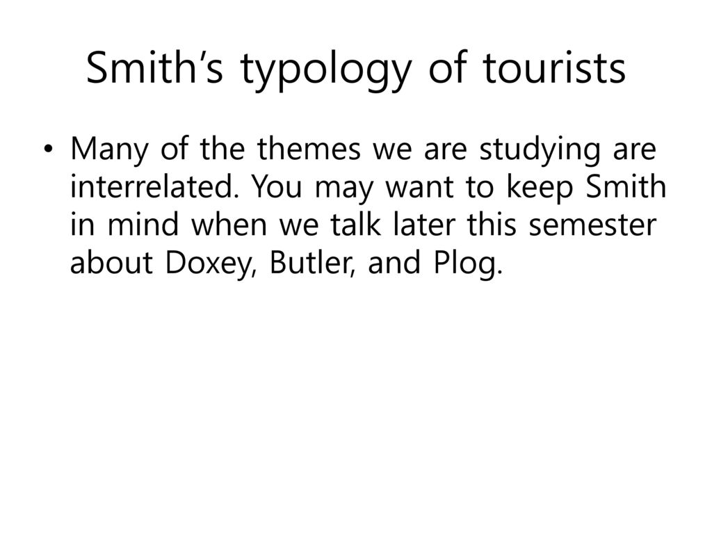smiths typology of tourists