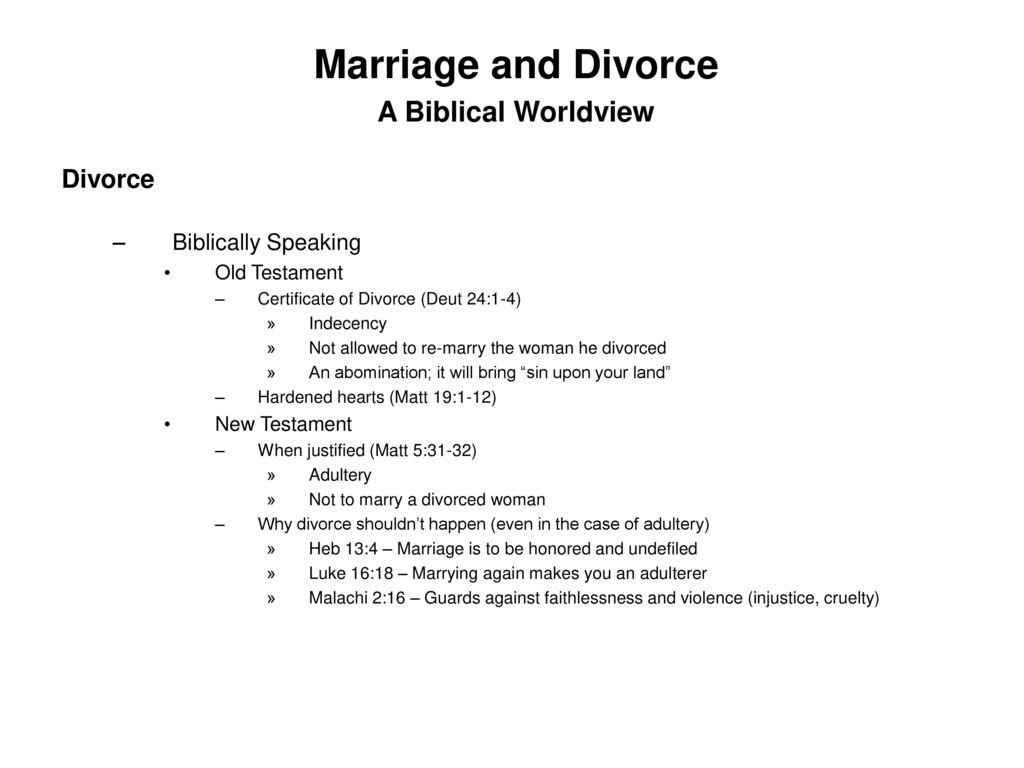 Marriage and Divorce A Biblical Worldview - ppt download