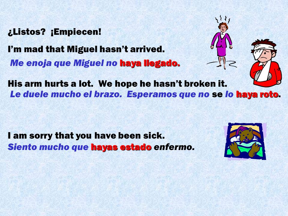 ¿Listos ¡Empiecen! I'm mad that Miguel hasn't arrived. His arm hurts a lot. We hope he hasn't broken it.