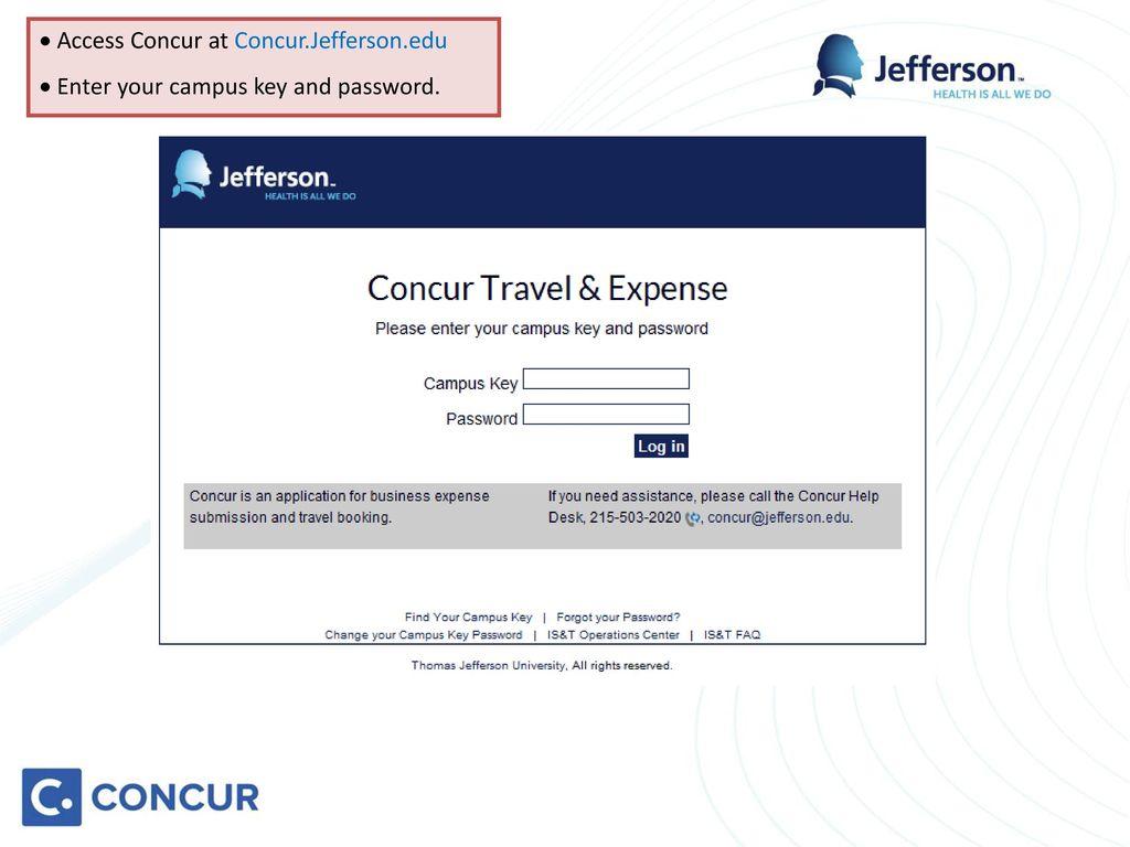 Access Concur At Jefferson Edu