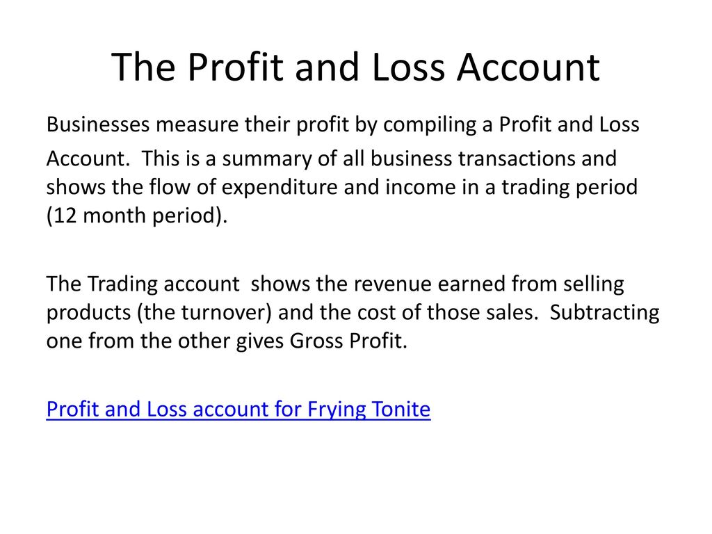 profit and loss account ppt download