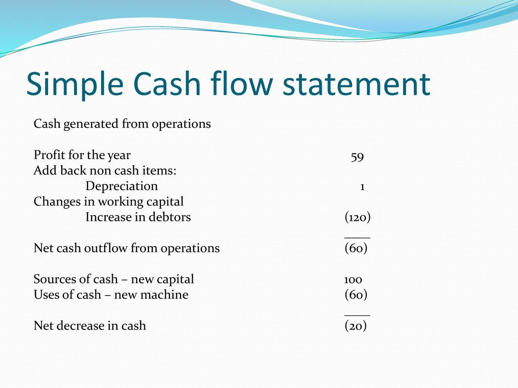 simple cash flow statements