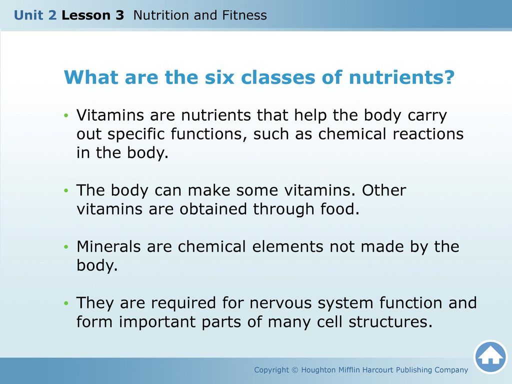 What Are The Six Cl Es Of Nutrients