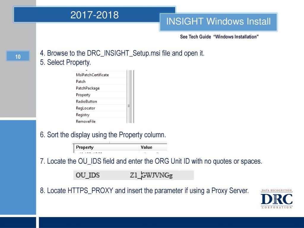 DRC INSIGHT Installation - ppt download