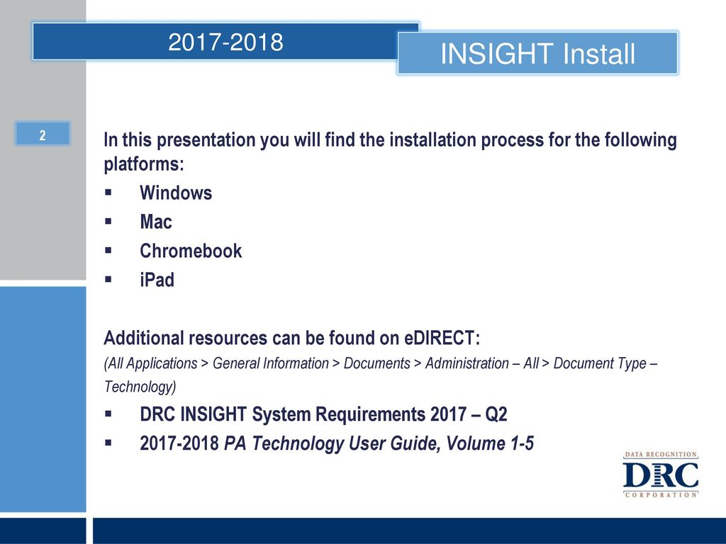 DRC INSIGHT Installation - ppt download