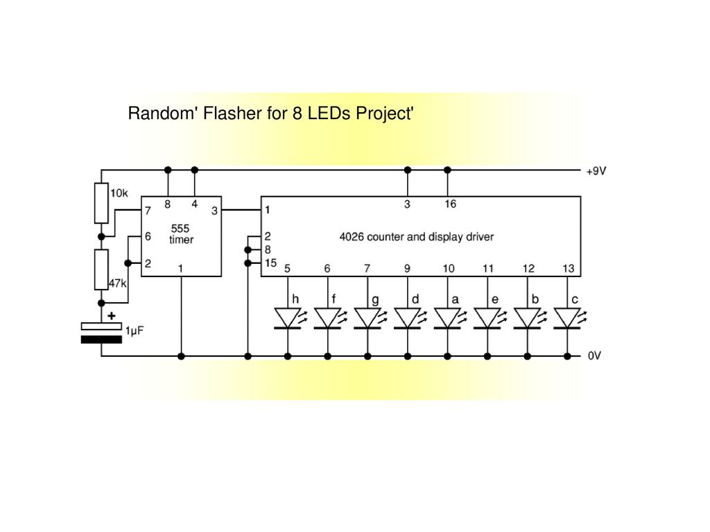555 Timer Ppt Download Basic Led Flasher Circuit Applications Using 10 Random For 8 Leds Project