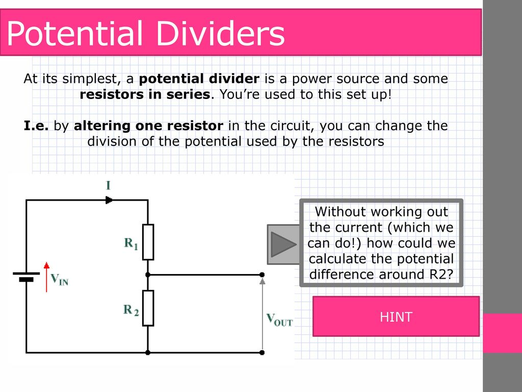A Level Physics Electrical Quantities Potential Dividers Ppt Working Of Resistors 4 Ratios