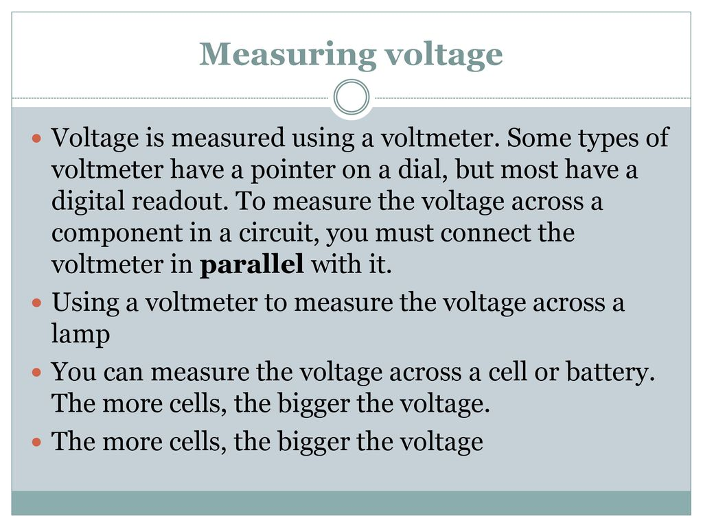 Electronics Circuits Ppt Download Parallel The Cells Are Connected In All 46 Measuring