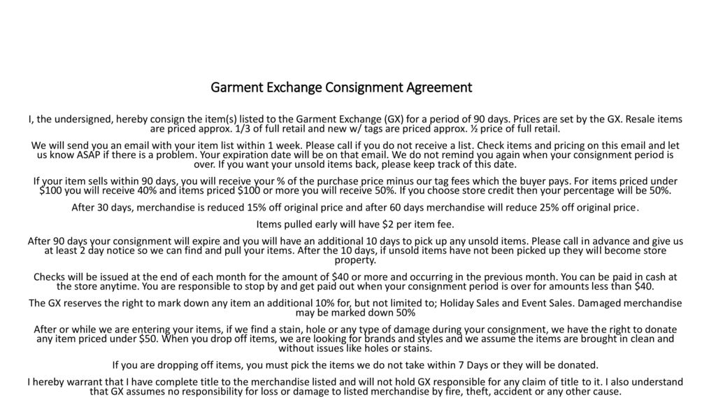Garment Exchange Consignment Agreement Ppt Download