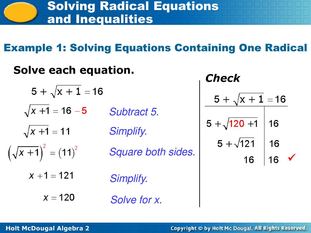 4a 3 Solving Radical Equations And Inequalities Ppt Download