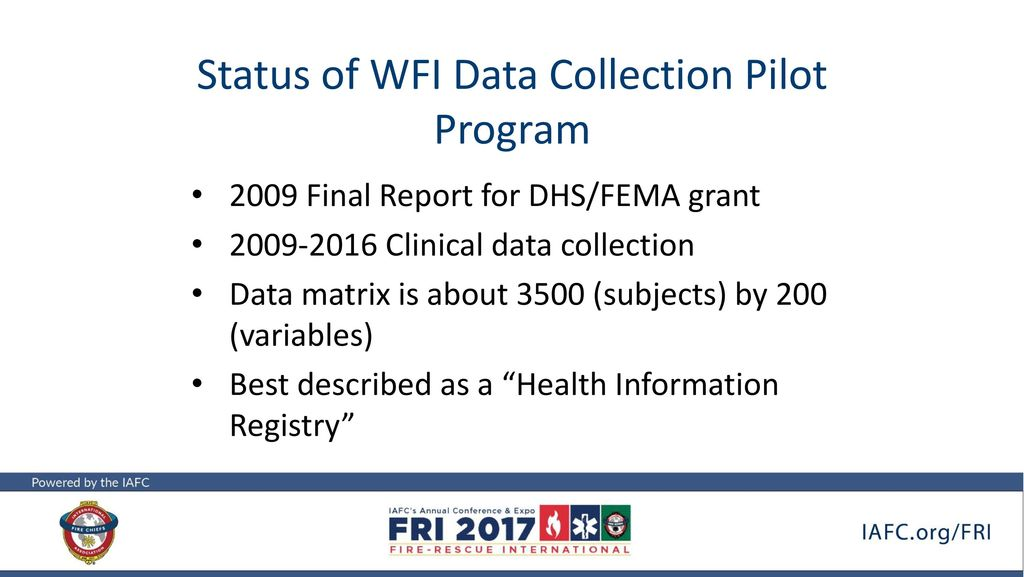 Results of Wellness Fitness Initiative (WFI) Data Collection
