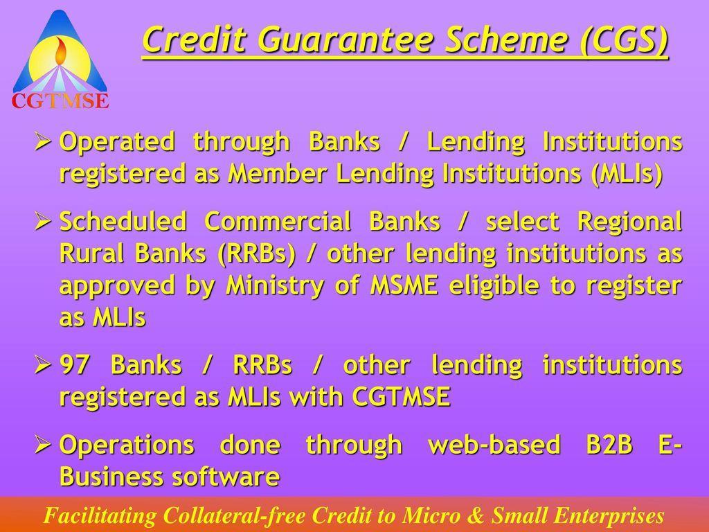 Credit guarantee fund scheme for micro and small enterprises.