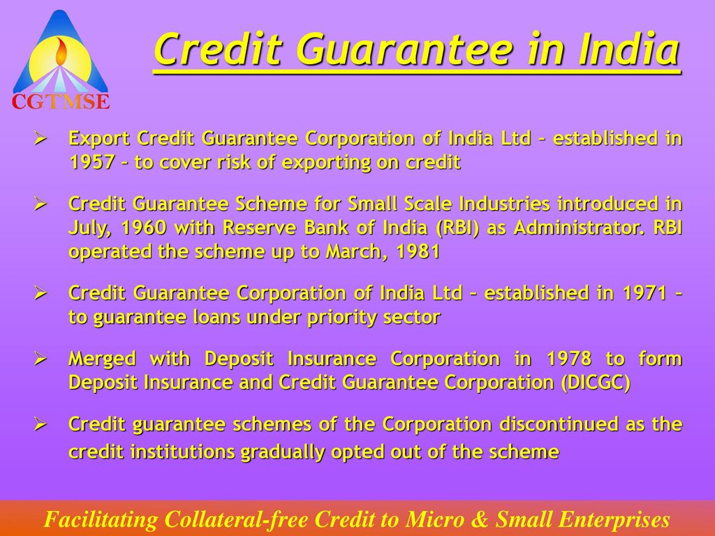 Credit Guarantee Fund Trust for Micro and Small Enterprises (CGTMSE on