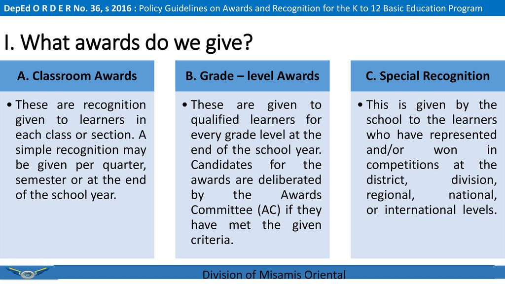Policy Guidelines On Awards And Recognition For The K To 12