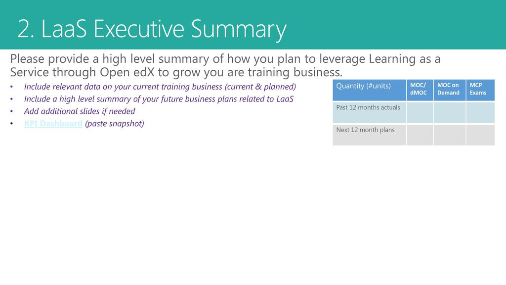 Learning as a Service Business Plan Template - ppt download
