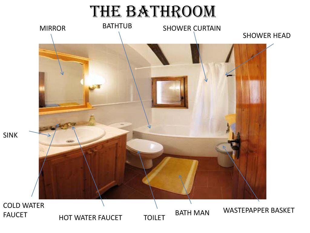 THE BATHROOM BATHTUB MIRROR SHOWER CURTAIN HEAD SINK COLD WATER