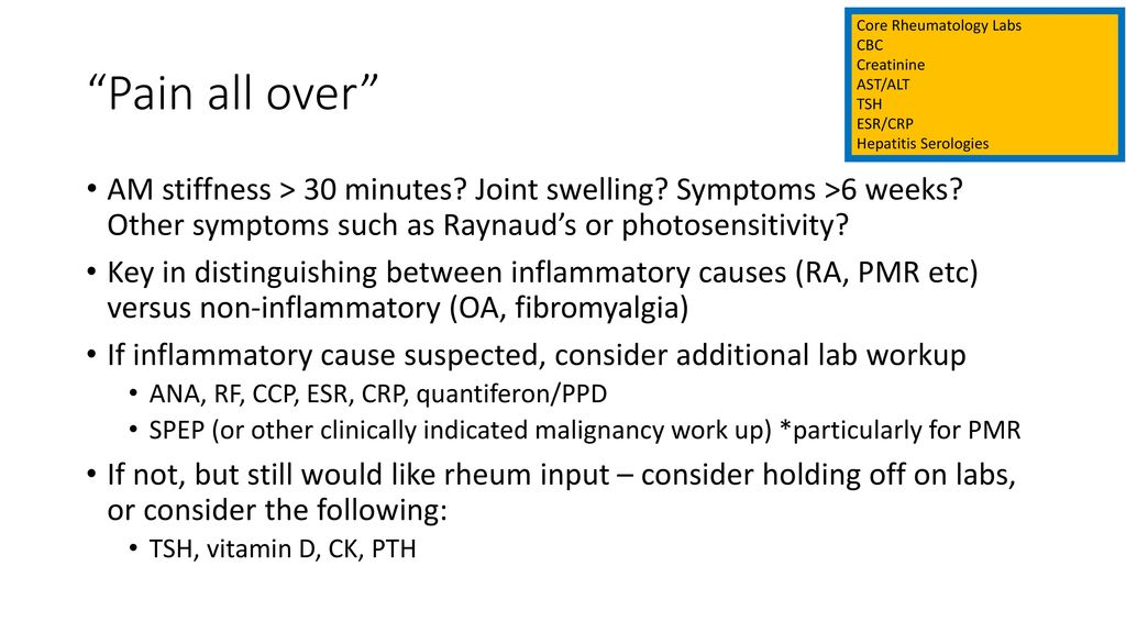 In the Grey Rheumatology labs and consultation guidelines