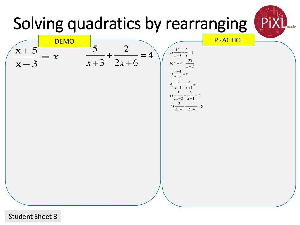 Quadratic Equations (needing rearrangement) - ppt download