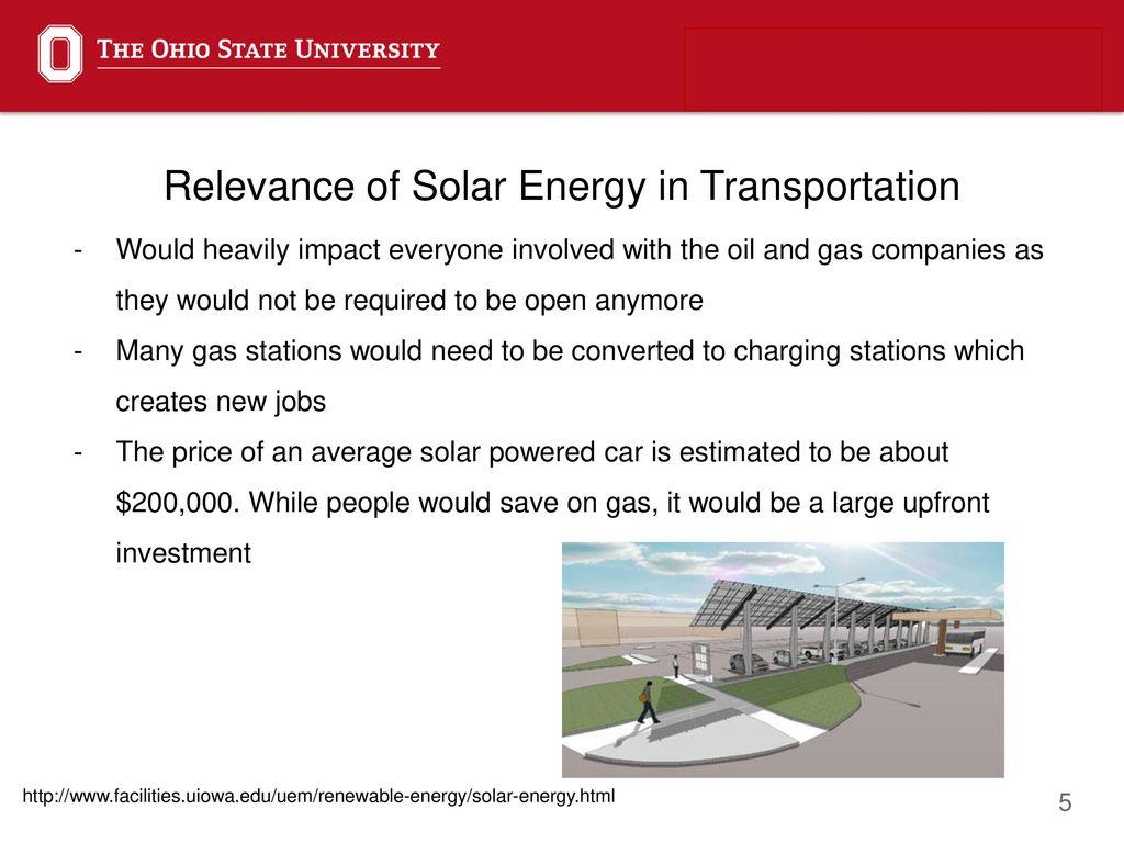 Solar Energy in Transportation - ppt download