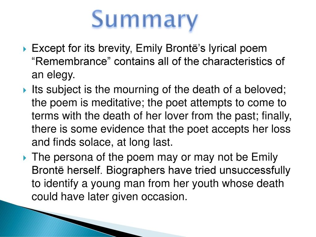 remembrance by emily bronte summary