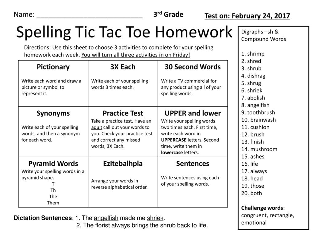 8 letter word for shrieked spelling tic tac toe homework ppt 13971