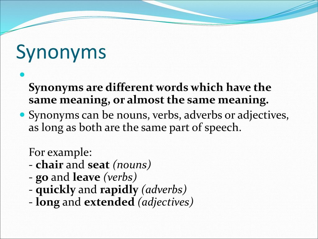 2 Synonyms ...  sc 1 st  SlidePlayer & Synonyms Antonyms and Homonyms - ppt download