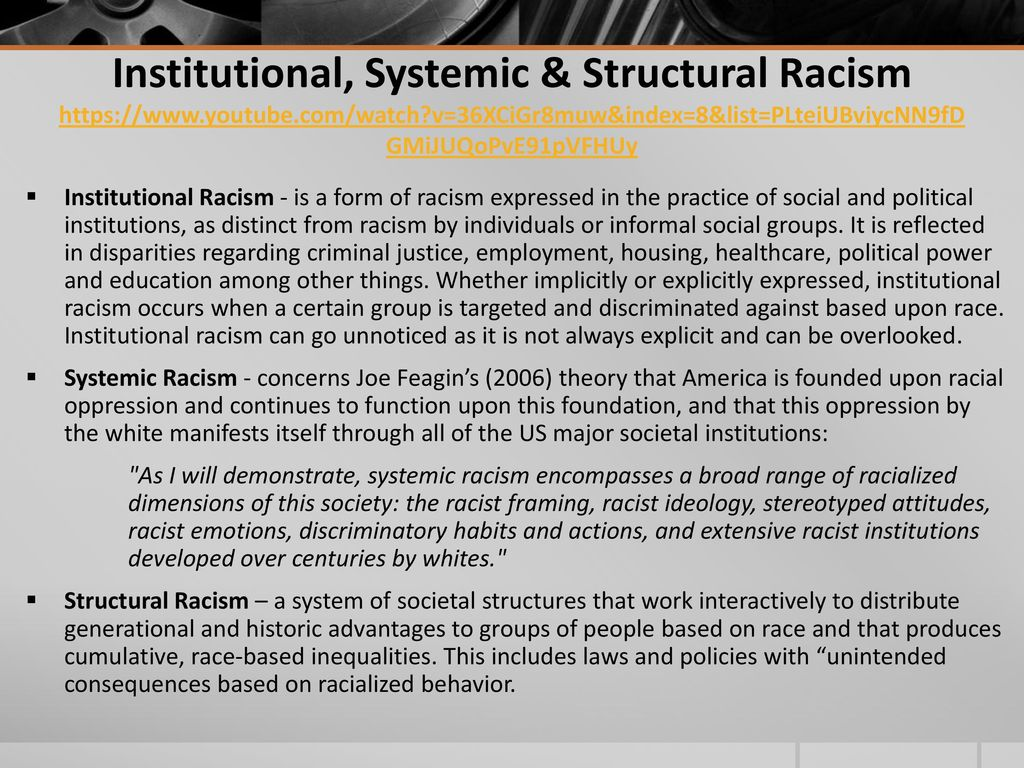 """discrimination institutional racism """"so going to a counseling center within a university that perpetuates institutional racism is just kind of like a conflict of interest for many students,"""" mcgee says."""