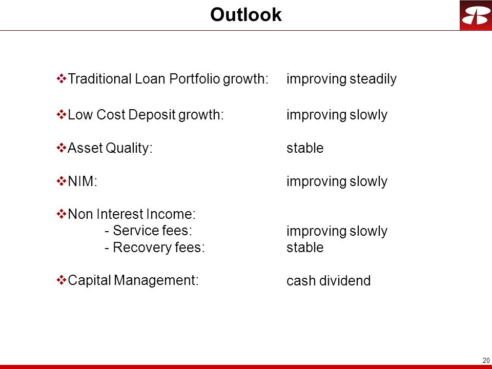 Outlook Traditional Loan Portfolio growth: Low Cost Deposit growth:
