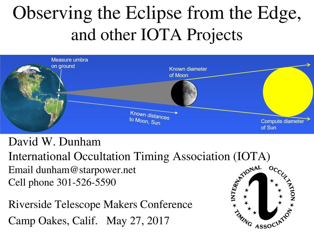 Observing the Eclipse from the Edge, and other IOTA Projects