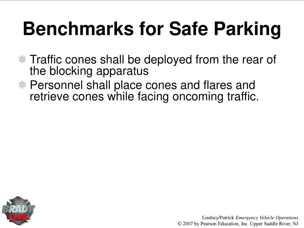 Chapter 9 Roadway Operations Ppt Download Fire Engines Diagram Traffic Cone 17 Benchmarks For Safe Parking Cones