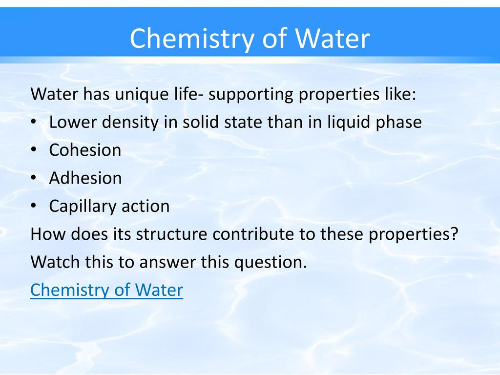 life supporting properties of water