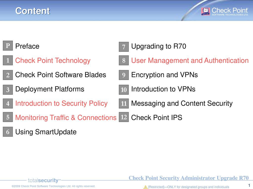 Content Preface Check Point Technology Check Point Software
