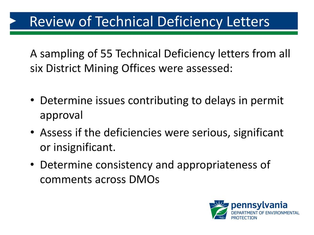 review of technical deficiency letters