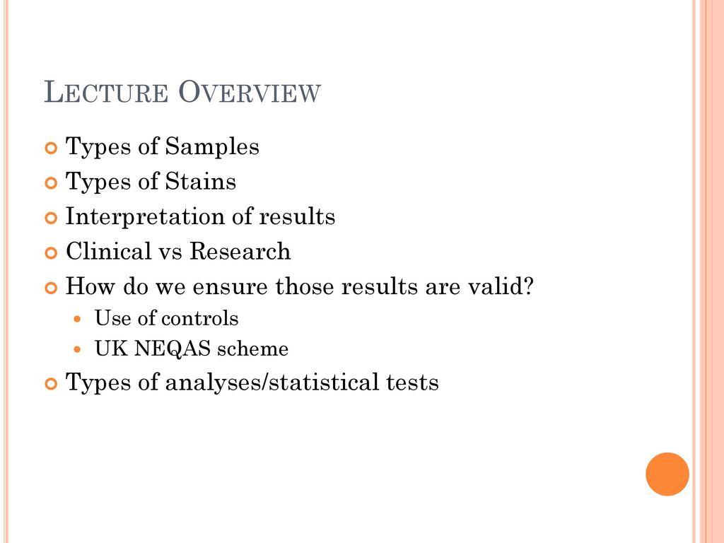 Cellular pathology tests