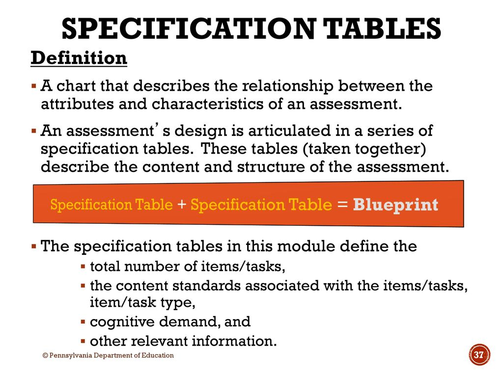 Assessment literacy series pa ppt download specification table specification table blueprint malvernweather Image collections