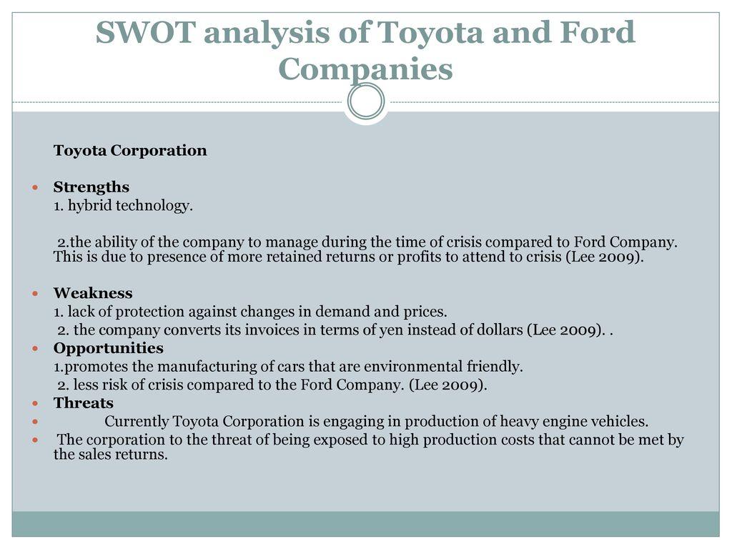 swot analysis of toyota motor corporation