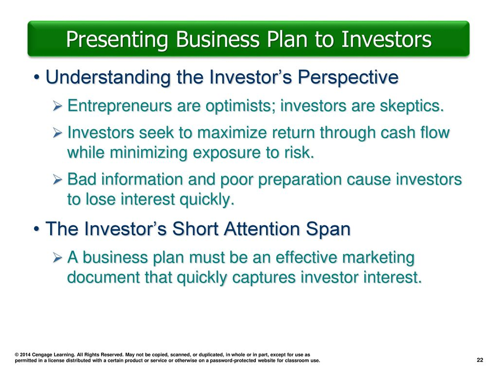 presenting business plan to investors