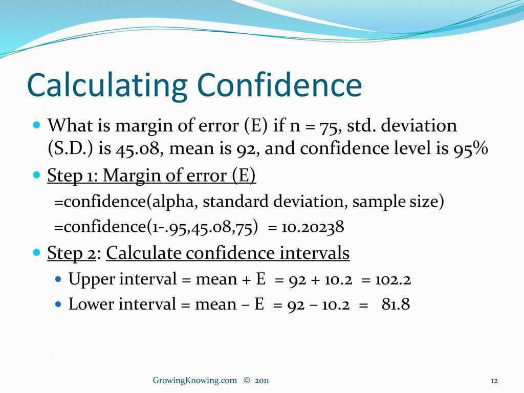 Confidence Intervals Excel