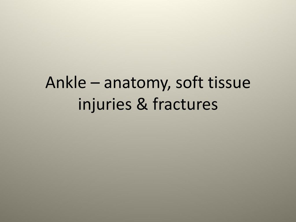 Ankle – anatomy, soft tissue injuries & fractures - ppt download